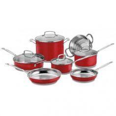 Conjunto Em Aço Inox Red Metalic Com 11 Peças